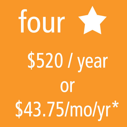 4 Star Level Membership: $520/yr or $43.75/mo/yr*
