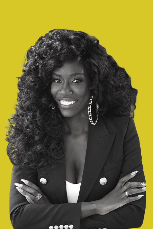 Bozoma Saint John headshot with pea green background
