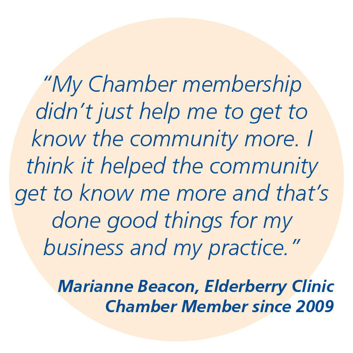 Quote from Marianne Beacon, Elderberry Clinic: My Chamber membership...helped the community get to know me more and that's done good things for my business and my practice.